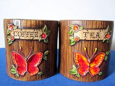 Vintage Treasure Craft Ceramic Faux Wood Butterfly Canisters Set of 2 for Coffee/Tea on Etsy, $15.00