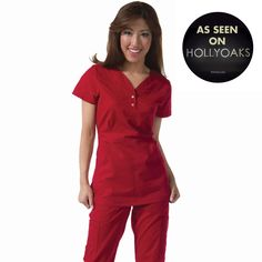 """Longer top from Koi in ruby, 26"""" length (size S) 55% cotton/45% polyester soft twill top, Two functioning snap buttons and deep pockets XS-3X  £27.50 #dental #uniforms #nurse #female #scrubs #tunics #top #healthcare #koi #Justine #happythreads"""
