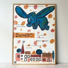 Beautiful Dumbo poster originally designed in 1961 by the Polish artist Anna Huskowska. Printed in 2021. W59.4xH84.1 cm. Good condition. The price is without frame Ascension Day, Cannes, Copenhagen, Walt Disney, Illustrators, Artist, Prints, Kids, Poster
