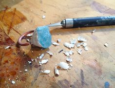 Carving epoxy putting for an electroformed ring.  Next I will fine sand the epoxy.  https://www.facebook.com/studiojardine