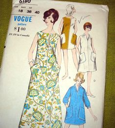 vogue dress patterns 1960's   1960s Vintage Vogue Sewing Pattern - Dress with Patch Pockets - Maxi ...