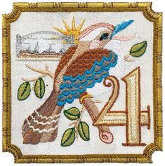 Four calling birds.and what bird has a better call than our friend the Kookaburra from down under. ours is auditioning for the Sydney Opera House! San Francisco Stitch Co. Twelve Days Of Christmas, The Night Before Christmas, Christmas Star, Christmas Ideas, Merry Christmas, Colly Birds, What Is A Bird, Miniature Quilts, Machine Embroidery Designs