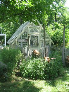 Greenhouse, garden shed, reading nook quiet place ~ WONDERFUL ! Window Greenhouse, Greenhouse Shed, Greenhouse Gardening, Cheap Greenhouse, Pergola, Conservatory Garden, Potting Sheds, Potting Benches, She Sheds