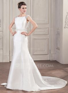 [US$ 199.99] Trumpet/Mermaid Scoop Neck Chapel Train Satin Wedding Dress With Beading Sequins Bow(s)