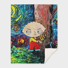 Discover «Family Guy Art Stewie Cartoon Starry Night vincent van gogh», Numbered Edition Throw Blanket by Retno Mustakimah - From $65 - Curioos