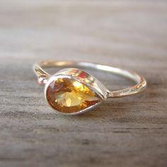 side swept citrine ring from onegarnetgirl on etsy