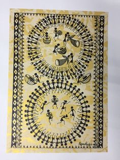 Buy Tarpa Dance painting online - original museum quality artwork by Ragini Pandey, available at Gallerist. Check price, painting and details online. African Art Paintings, Dance Paintings, Madhubani Art, Madhubani Painting, Worli Painting, Fabric Painting, Rajasthani Art, Indian Folk Art, Hindu Art