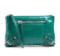 Michael Kors Large Leather Fallon Top Zip Clutch Wristlet  Aqua Green NWT #MichaelKors #Clutch