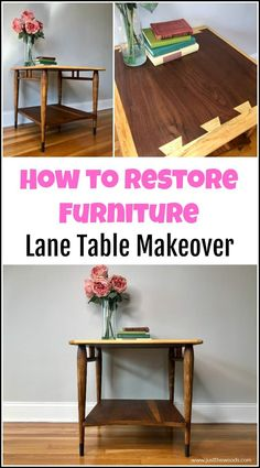 See how to refinish furniture to its original finish with this easy furniture refinishing technique. These furniture refinishing products are all natural and create amazing results. Lane Acclaim table makeover and restoration. #refinishfurniture #restorefurniture #lanetable #laneacclaim #refinighingfurniture #furniturerestoration