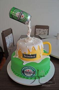Hikari Bolos Artísticos: Cerveja - in 2020 Elegant Birthday Cakes, Birthday Cakes For Men, Funny Birthday Cakes, Homemade Birthday Cakes, Cake Birthday, Birthday Beer, Birthday Ideas, Happy Birthday, Cake For Husband
