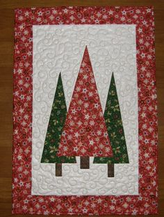 Christmas Trees Quilted Wall Hanging Red Green by HollysHutch