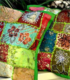 Gypsy Bohemian Pillow Cover - Vintage Sari Fabric - Green