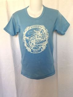fbafdcf7c7 SOLVANG California Vintage Made in USA Short Sleeve Graphic T Lt. Blue Size  M