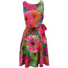 Petite Gerbera Flower Dress (310 HRK) ❤ liked on Polyvore featuring dresses, vestidos, pink, short dresses, flower print dress, pink floral dress, pink mini dress and flower pattern dress