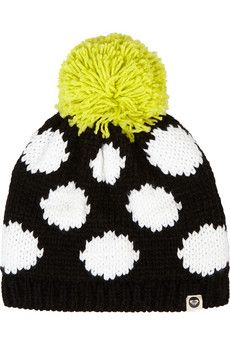 House of Holland + Roxy polka-dot knitted hat | NET-A-PORTER