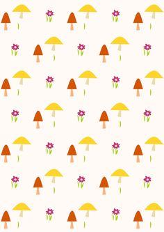 FREE printable #nursery mushroom pattern paper | #autumn