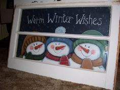 Winter Arst and crafts For Teens - Arst and crafts Videos Organizer - Arst and crafts Videos Homes - - Old Windows Painted, Vintage Windows, Painted Window Panes, Painted Screens, Antique Windows, Christmas Projects, Holiday Crafts, Window Art, Window Ideas