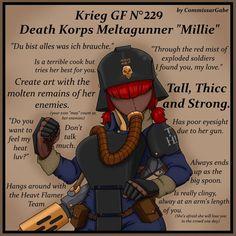 Krieg MeltaGunner GF Millie by ComissarGabe on DeviantArt Warhammer 40k Memes, Warhammer Art, Warhammer 40000, Steampunk, Anatomy Poses, Star Trek Enterprise, I Found You, Joker And Harley, Fun Comics