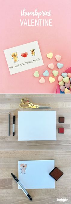 This Valentine's Day, skip the generic, store-bought card! In under five minutes, you and your kiddos can DIY a Thumbprint Valentine to present to your partner — to show them just how much they're loved. Using just a marker, colored pencil, card stock, and ink pads, transform thumbprints into an adorable image. Add as many bears as you like, write a custom message, or even try out different shapes or figures. Whatever you make, they're sure to love it!