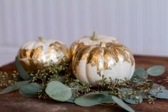 Pin for Later: 12 Breathtaking Ways to Decorate With Pumpkins at Your Fall Wedding DIY Gold Leaf Pumpkins