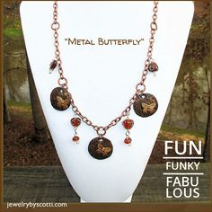 """This 24-inch long """"Metal Butterfly necklace incorporates copper, gold, and silver with butterflies for a fun, funky, fabulous look. Link: https://www.etsy.com/listing/63744782/long-statement-necklace-butterfly-charms?ref=shop_home_active_10 . Follow Jewelry by Scotti on Pinterest to be the first to see new products & sales. Shop now:www.jewelrybyscotti.com #handmade #jewelry #OOAK #fashion #gifts"""