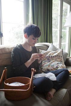 Her hair, handwork & Tennessee pillow. Triple Win.