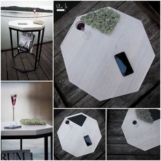 Stolik z gazetnikiem, którego niewątpliwym atutem jest element z mchu wymieniany na panel w kolorze czarnym. / Table with nespaper holder and moss replaceable for black panel.