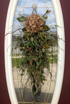 Spring Wreath Summer Wreath Mothers Day Teardrop Door Twig Swag Vertical Decor.
