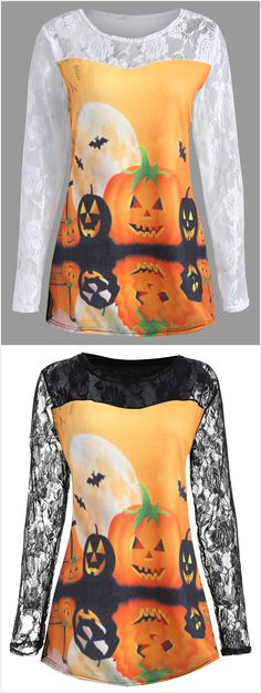 Plus Size Halloween Pumpkin Moon Lace Insert T-Shirt