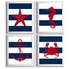 Nursery Art Stripes Nautical Beach Ocean Sea Navy Red more colors... ❤ liked on Polyvore