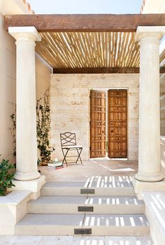 love the doors and latte pergola roof - Outdoor space Cheap Pergola, Pergola Kits, Pergola Roof, Pergola Ideas, Outdoor Rooms, Outdoor Living, Outdoor Decor, Outdoor Furniture, Backyard Shade