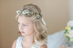 flower girl crown white flower crown bridal by thehoneycomb
