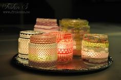 Washi tape is maybe the most inexpensive supply that you can use to change the look of anything instantly. Stick some washi tape on your phone case, Washi Tape Cards, Washi Tape Diy, Masking Tape, Bottles And Jars, Glass Jars, Candle Jars, Candle Holders, Mason Jar Crafts, Mason Jars