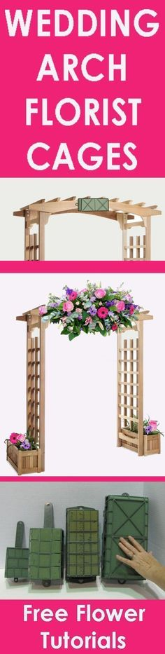 Wedding Flower Arch - Easy Step by Step Flower Tutorials Learn how to make bridal bouquets, wedding corsages, groom boutonnieres, church decorations, pew ends and reception centerpieces. Buy wholesale flowers and discount florist supplies! #churchweddingdecorations