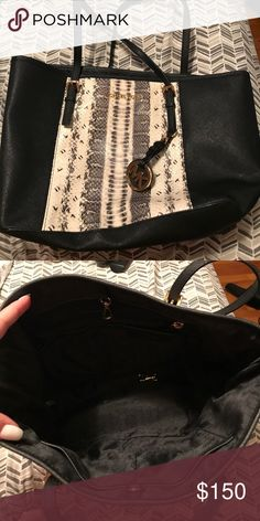 Michael Kors snakeskin handbag Barely used, basically brand new! Matching wallet also listed! Dimensions are 11x5x9 Michael Kors Bags Totes