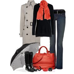 A Rainy Fall Day Outfit...the scarf and purse pull it all together