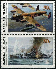 Stamp: German Battleship Tirpitz Sunk, 1944 (Marshall Islands) (II World War) Mi:MH Airplane History, Marshall Islands, Love Stamps, Modern History, Battleship, Helicopters, Postage Stamps, Airplanes, World War