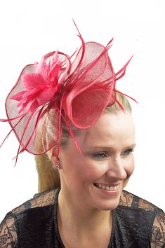 Large Pink Sinamay & Flower Comb Fascinator