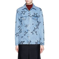 Etre Cecile Oversized star embroidered denim jacket ($305) ❤ liked on Polyvore featuring outerwear, jackets, blue, oversized jean jacket, oversized jackets, jean jacket, blue denim jacket and embroidery jackets