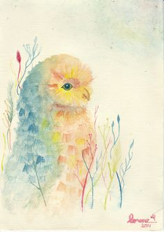 an owl artwork with watercolor by me