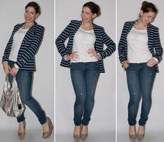 Blog de moda - Look do dia: como usar look básico com calça jeans, camiseta, blazer, anabela Santa Lolla e bolsa Furla. Look do dia no blog de moda.