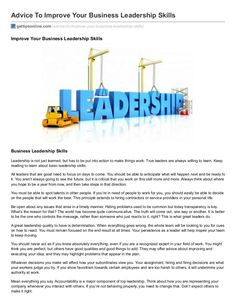 Advice to improve your business leadership skills by ErickEsmenjaud via slideshare