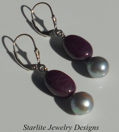 Ruby Cabochon Drop Earrings with Natural Peacock Grey Baroque Pearls ~ by www.StarliteJewelryDesigns.com, $65.00
