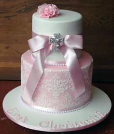 Pretty in Pink (Rose) Christening Cake Confirmation Cakes, Baptism Cakes, Baby Girl Christening Cake, Christian Cakes, Dedication Cake, Religious Cakes, First Communion Cakes, Cake Boss, Girl Cakes