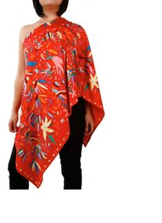Poncho Hidalgo Embroideries Red.  More colors available.  www.pinedacovalinaz.com