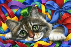 Tabby Cat Print Ribbons and Bows by Irina Garmashova I Love Cats, Crazy Cats, Cute Cats, Image Chat, Gatos Cats, Here Kitty Kitty, Cross Paintings, Christmas Cats, Christmas Animals