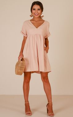 Showpo Way You Move dress in blush linen look - 14 (XL) Casual Dresses