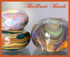 Earthy Greens Blue & Amber Boro Glass Bead by Gillianbeads on Etsy, $9.50