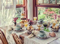 Como receber bem uma visita: planejando as refeições! Inspire-se nesta mesa de café da manhã no campo.