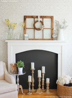 Neutral Living Room or Bedroom Makeover Ideas - DIY Painted Accent Wall Pattern with Designer Wallpaper Effect - Palace Trellis Moroccan Lace Wall Stencils by Royal Design Studio Faux Mantle, Antique Fireplace Mantels, Fake Fireplace, Fireplace Wall, Fireplace Design, Fireplace Ideas, Fireplace Decorations, Candles In Fireplace, Mantle Ideas